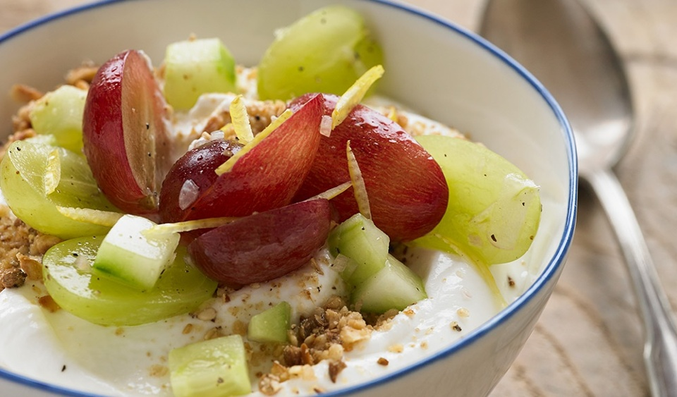 Savory Yogurt with Grape and Cucumber Salad