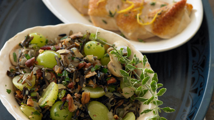Wild Rice Stuffing with Grapes and Hazelnuts