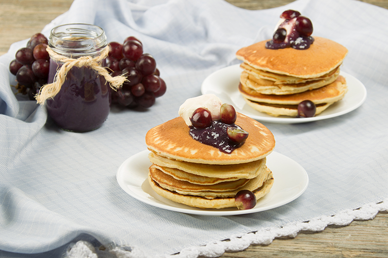 Pancakes with Fresh Grape Jam